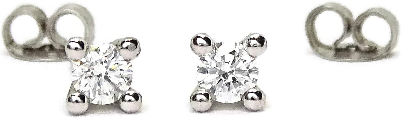 Pendientes de diamantes de 0.60cts en oro blanco de 18k, 4 garras, cierre presion. 5mm por 5mm