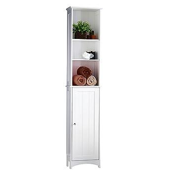 VonHaus Tall Bathroom Storage Unit | White Colonial Style Tallboy Cabinet  Cupboard