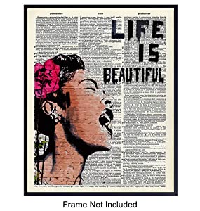 Banksy Wall Art - Upcycled Dictionary Graffiti Art Print, Billie Holiday 8x10 Street Art Poster, Home Decor - Urban Wall Art Print and Room Decorations - Makes a Great Gift - 8x10 Photo Unframed