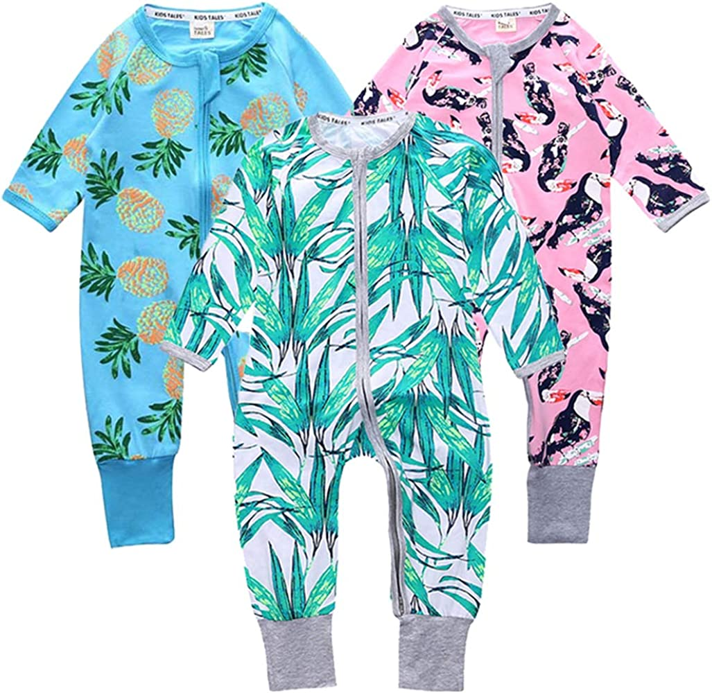 Kids Tales Baby Girls Long Sleeve Footies Zipper Romper Flower Pajama Onesies