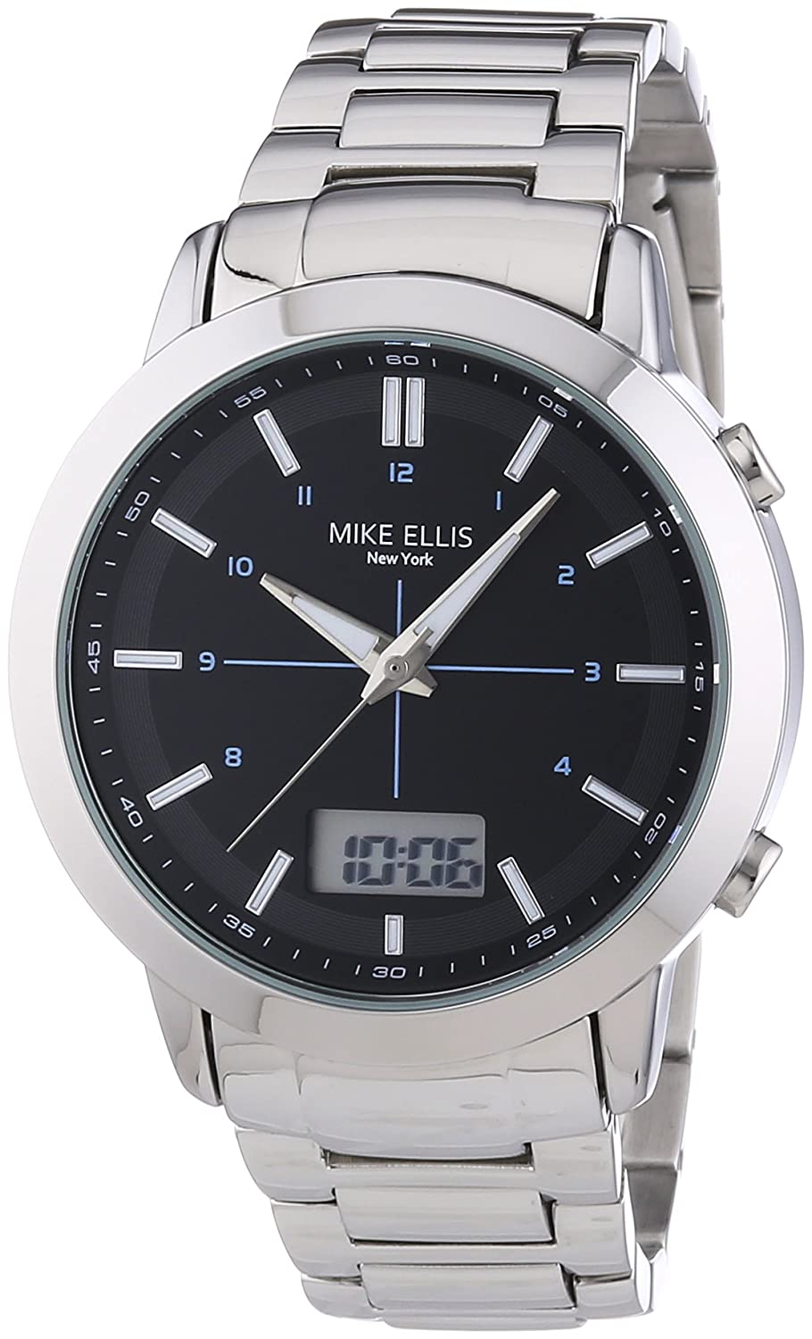 Mike Ellis New York Herren-Armbanduhr XL Analog - Digital Quarz Edelstahl SL4-60220