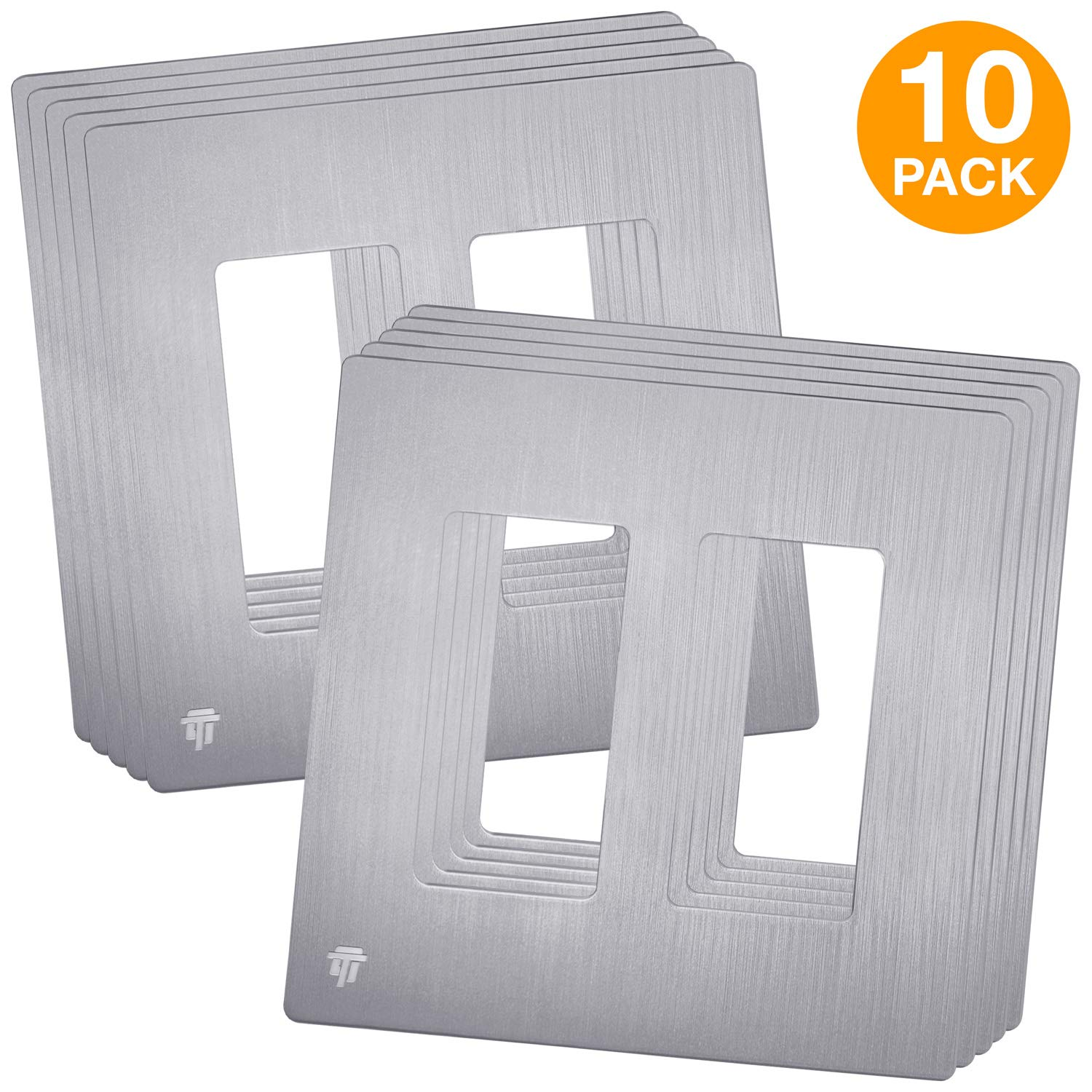 ENERLITES Elite Series Brushed Screwless Decorator Wall Plate Child Safe Cover, Standard Size 2-Gang, Unbreakable Polycarbonate Thermoplastic, Silver, SI8832-BSV, 10 Pack