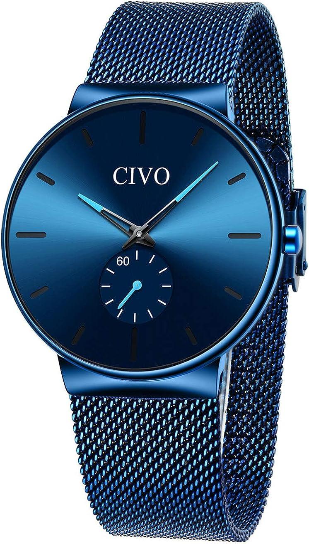 CIVO Relojes Hombre Impermeable Moda Reloj Deportivo Caballero Analogico Casuales Clásico Negocios Calendario Relojes de Pulsera para Hombres