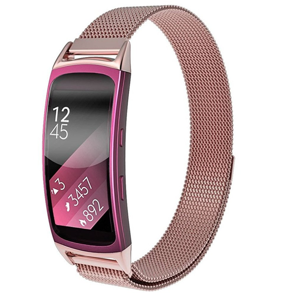 Stainless Steel Metal Adapter Milanese Loop Bracelet Metal Watch Strap with Magnet Clasp for Samsung Gear Fit2