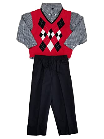 Amazoncom Happy Fella Toddler Boys 3pc Red Black White Argyle