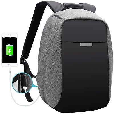 774df47304 AH ARCTIC HUNTER Waterproof 15.6 Inch Laptop Anti-theft Backpack for Men  School Business Cool Travel Rucksack Daypack Bag with USB Charging  (Black+Grey)