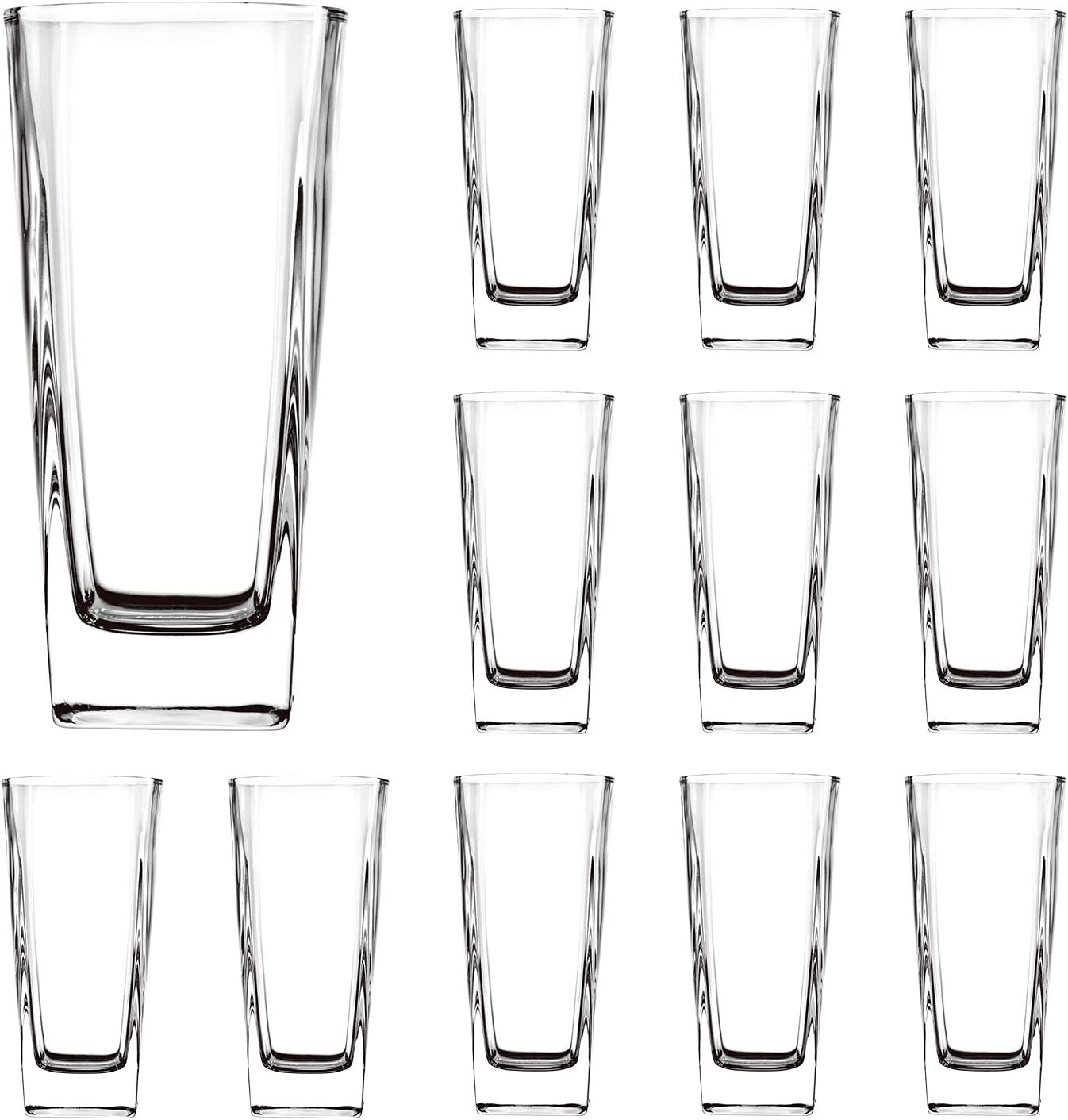 Clear Highball Glasses 8 oz,QAPPDA Drinking Tumblers Glass Cups For Home and Kitchen,Cocktail Glass Great for Restaurants,Bars,Parties,Water Glass Drinking Cups Juice Cups 12 Pack KTY4012