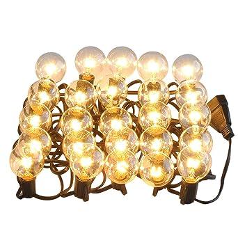 Weihnachtsbeleuchtung Aussen Ersatzbirnen.Led Lichterkette Glühbirnen G40 25ft Deko Lichterkette Wasserdichte Ip 65 Für Innen Außen Garten Weihnachtsbeleuchtung Wolframlampe Yunshangauto