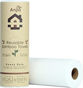 Anjia Heavy Duty Reusable Bamboo Towels - 20 Sheets/Roll - Great as Kitchen Towels, Dish Towels, Cleaning Rags, Shop Towels, and Swedish Dishcloths - Replacement of Paper Towels Bulk