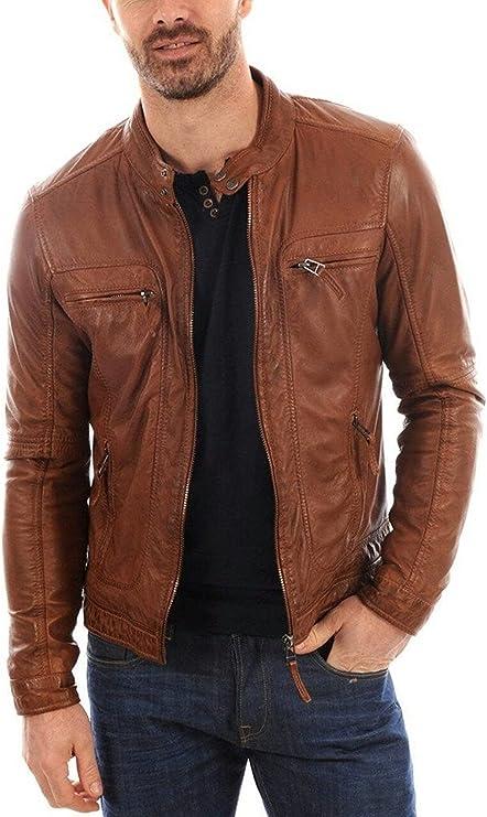 New Mens Leather Jacket Slim Fit Biker Motorcycle Genuine Leather Coat T551