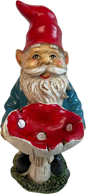 Garden Gnome Outdoor Statue with Bird Feeder (Red Mushroom)
