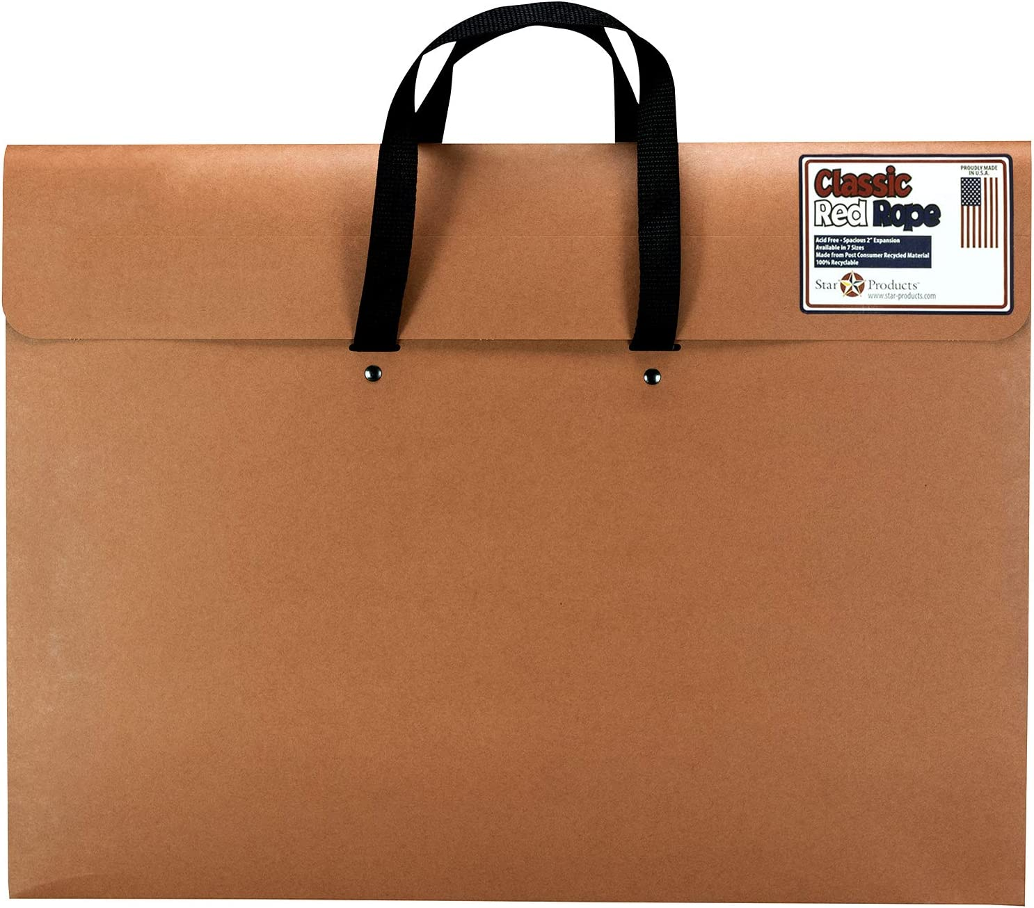 "Star Products Red 223H Classic Rope Paper Artist Portfolio with Soft Woven Handle, 23"" x 31"""
