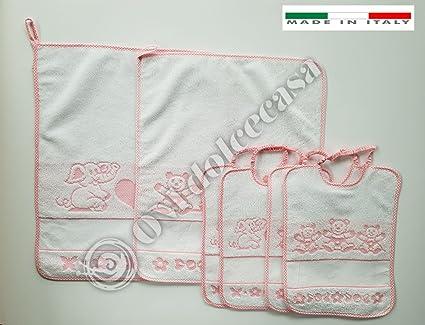 M&O Juego 2 toallitas + 4 bavaglie BAVETTE Baberos con Elástico Color Rosa Hembra Niña Baby