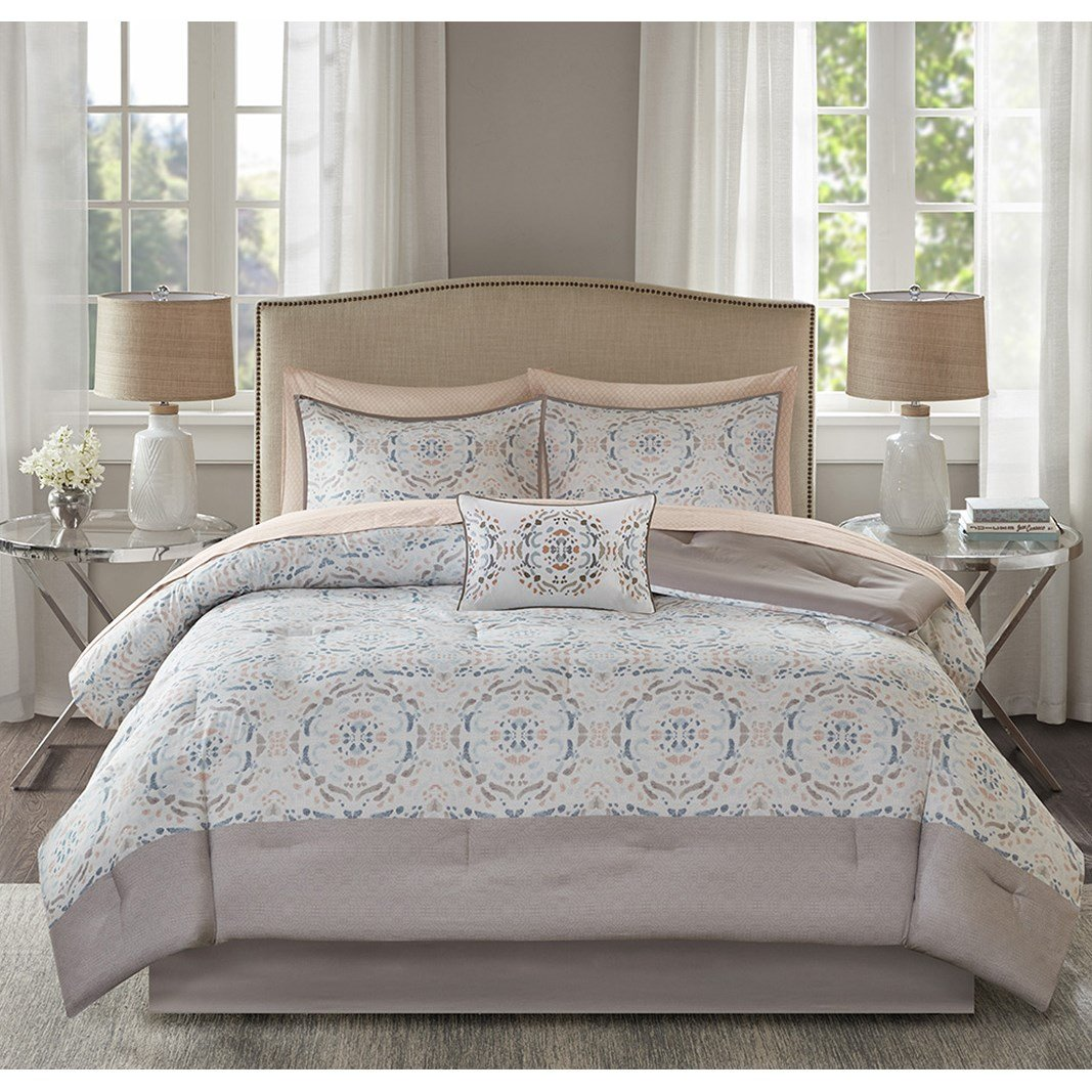 JLA Home INC Madison Park Essentials Voss Comforter Set Queen Size Bed in A Bag - Blush White, Geometric – 9 Piece Bed Sets – Ultra Soft Microfiber Teen Bedding for Girls Bedroom
