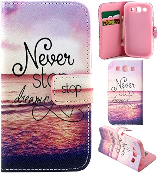 S3 Case S3 Wallet Case Galaxy S3 Flip Case Gift Source Never Stop Dreaming Pattern Stand Feature Case Wallet Wallet S Premium Wallet Case Flip Cover For Samsung Galaxy S3 Iii I9300