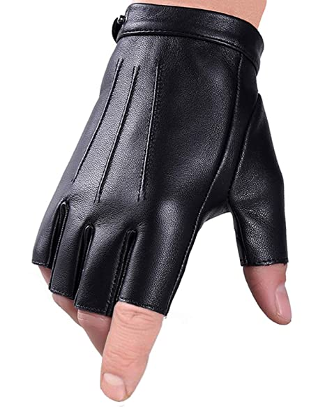 Fingerless Gloves Driving Gloves Faux Polyurethane Pu Leather Touchscreen Texting Dress Moto Black Gloves For Men Women Teens by Popuglove