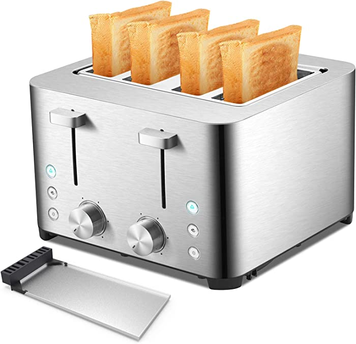 Toaster 4 Slice - Brushed Stainless Steel, 4-Slot Wide-Slot Automatic Toaster, Cancel,Bagel,Defrost, Removable Crumb Tray, 1500W