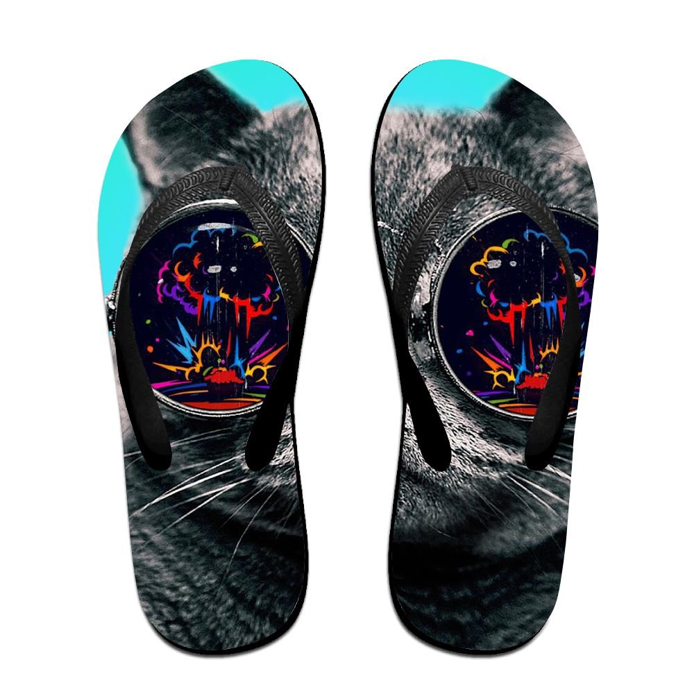Unisex Summer Beach Slippers Colorful, Glasses Flip-Flop Flat Home Thong Sandal Shoes