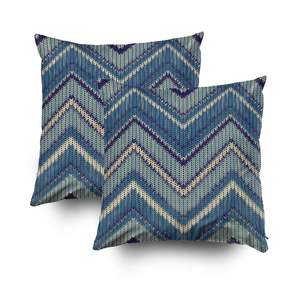 Shorping Decorative Throw Pillow Cover, Home Décor Throw Pillow Cushion Cover Seamless Knitted Zigzag Pattern