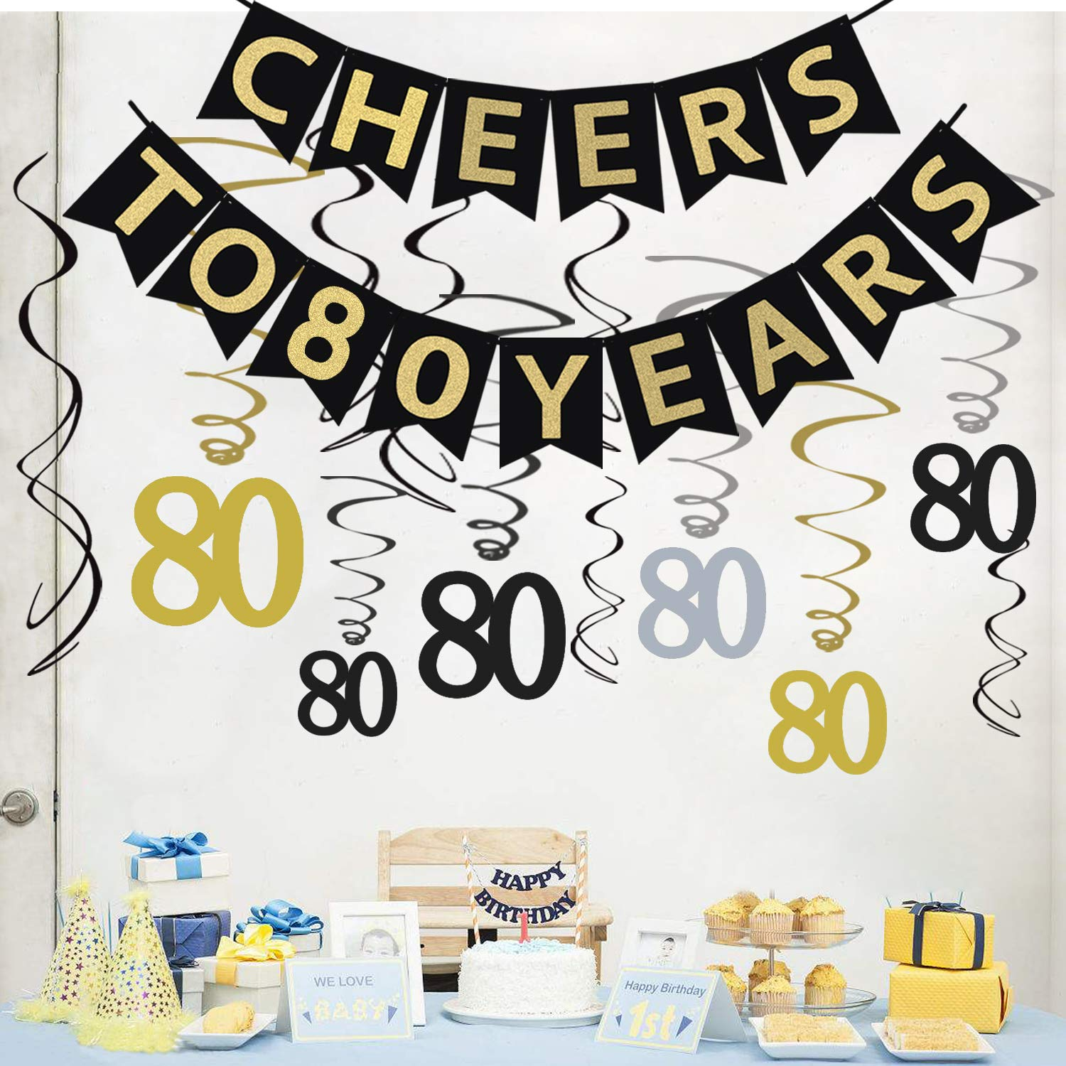 Tuoyi 80th Birthday Party Decorations KIT - Cheers to 80 Years Banner, Sparkling Celebration 80 Hanging Swirls, Perfect 80 Years Old Party Supplies 80th Anniversary Decorations by Tuoyi (Image #4)