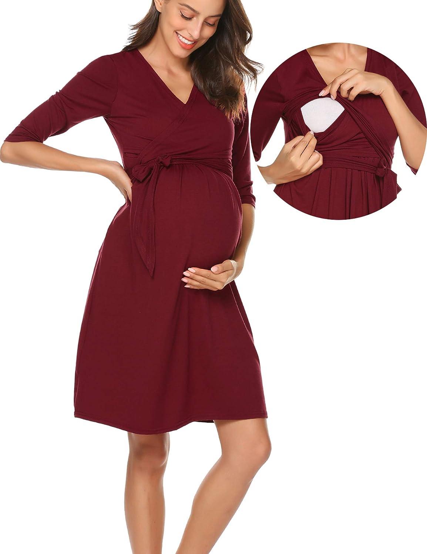 Romanstii Vestito da Maternità Donna per Allattamento Abito di Maternità Abito di Gravidanza Scollo a V Elegante