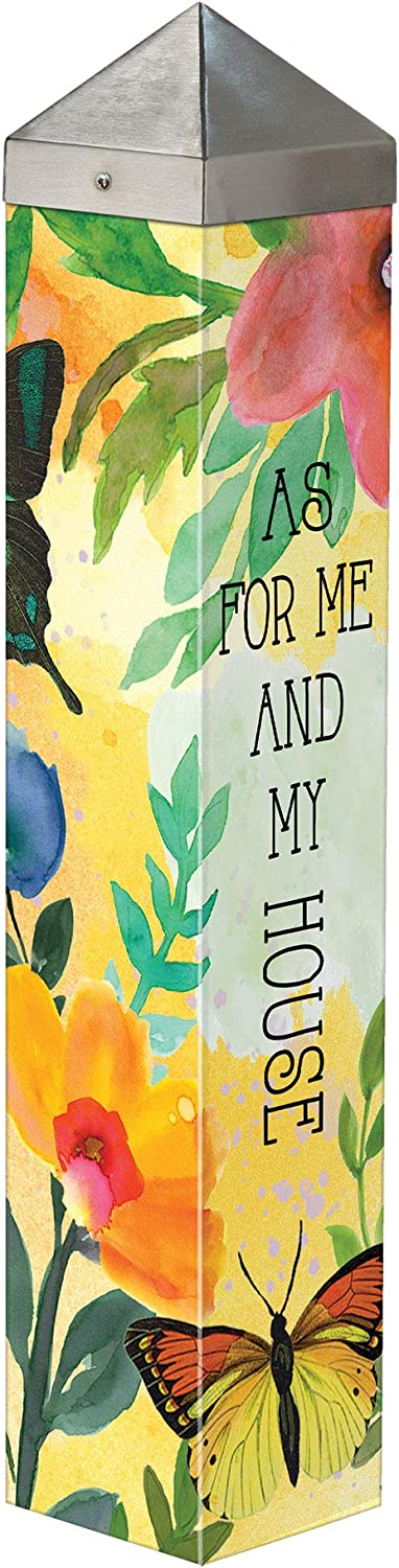Studio M My House Serves Art Pole Outdoor Decorative Garden Post, Made in USA, 20 Inches Tall