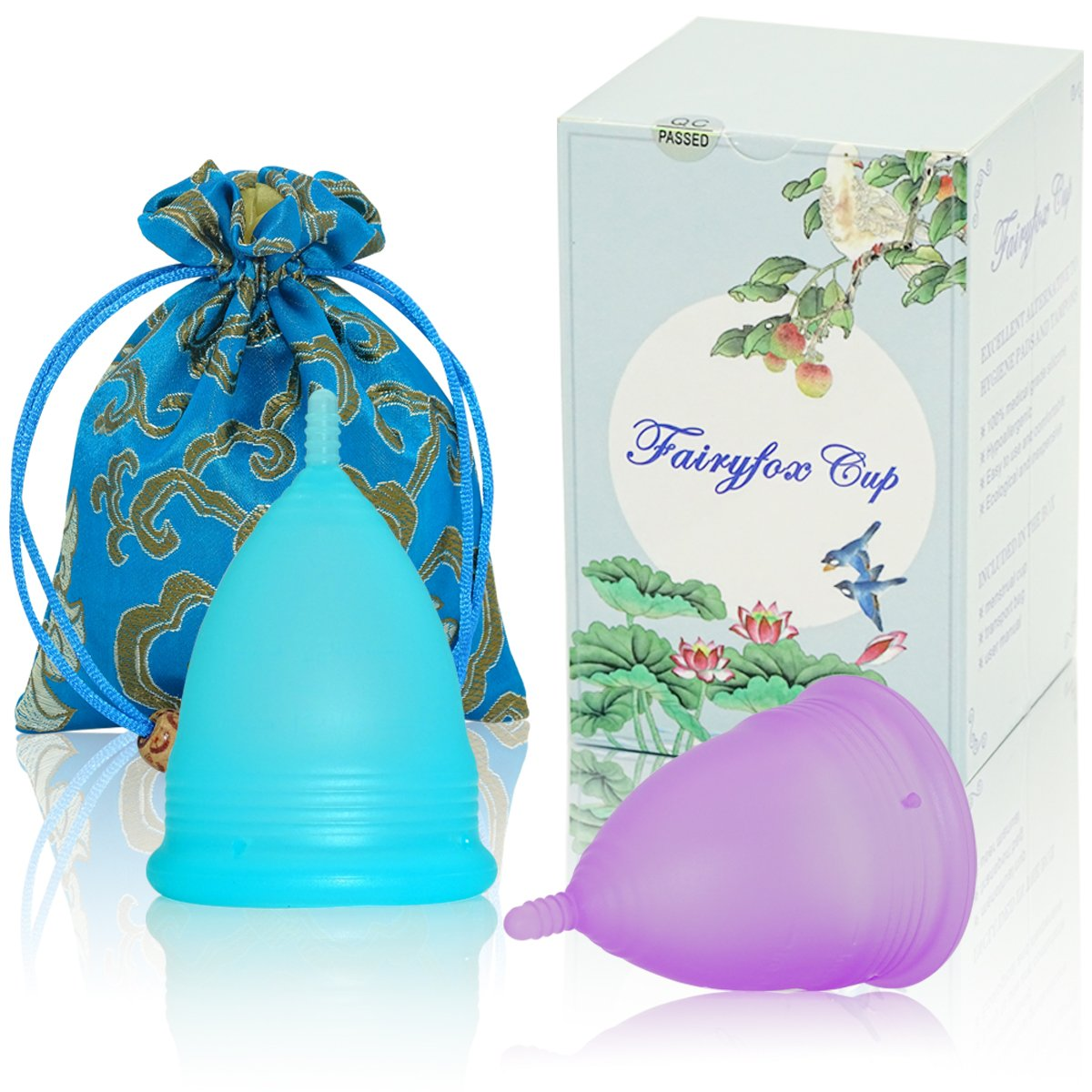Menstrual Cup by Fairyfox Set of 2 Periods Kit with Silk Brocade Bag - Soft Comfort Fit, Reusable Menstrual Cups (Large, Blue&Purple)