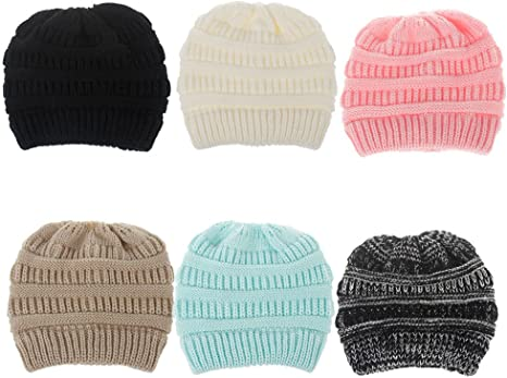 DealHouse Kids Girls Winter Warm Stretch Cable Knit Messy High Bun Ponytail Beanie Hat 3-12 Years