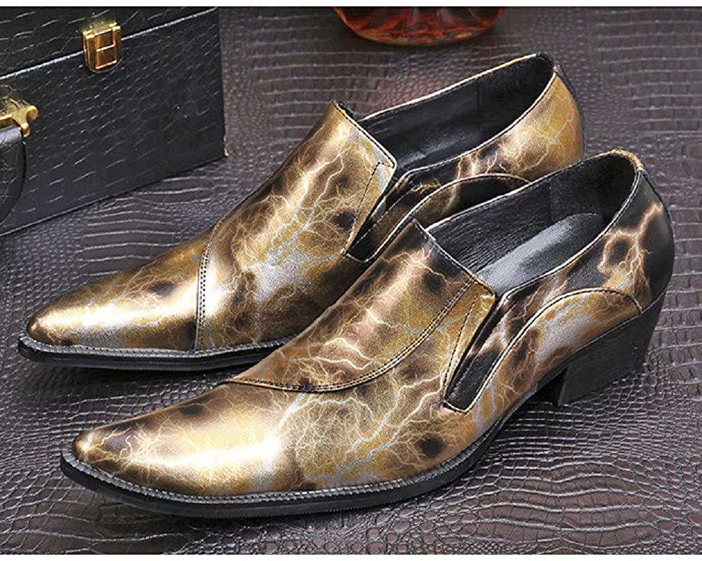 Cover Plus 2 Color Size 5-12 Genuine Leather Slip On Dress Loafers Pointed Toe Mens Shoes
