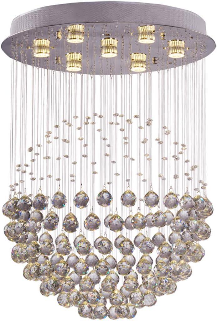 W15.7 X H25.6 Sphere Clear K9 Crystal Chandelier Lighting Globe Rain Drop Design LED Ceiling Fixture