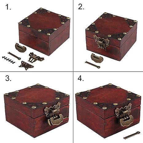 Chino Peque/ño Vintage cierre con llave y mariposas Latch hasp y tornillos para armario caja de joyas caja de regalo