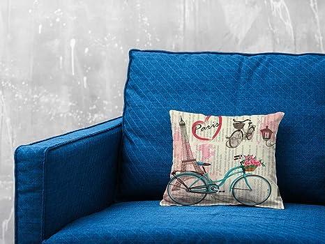 Cojín Torre Eiffel Bicicleta Azul | Tela impresa de ...