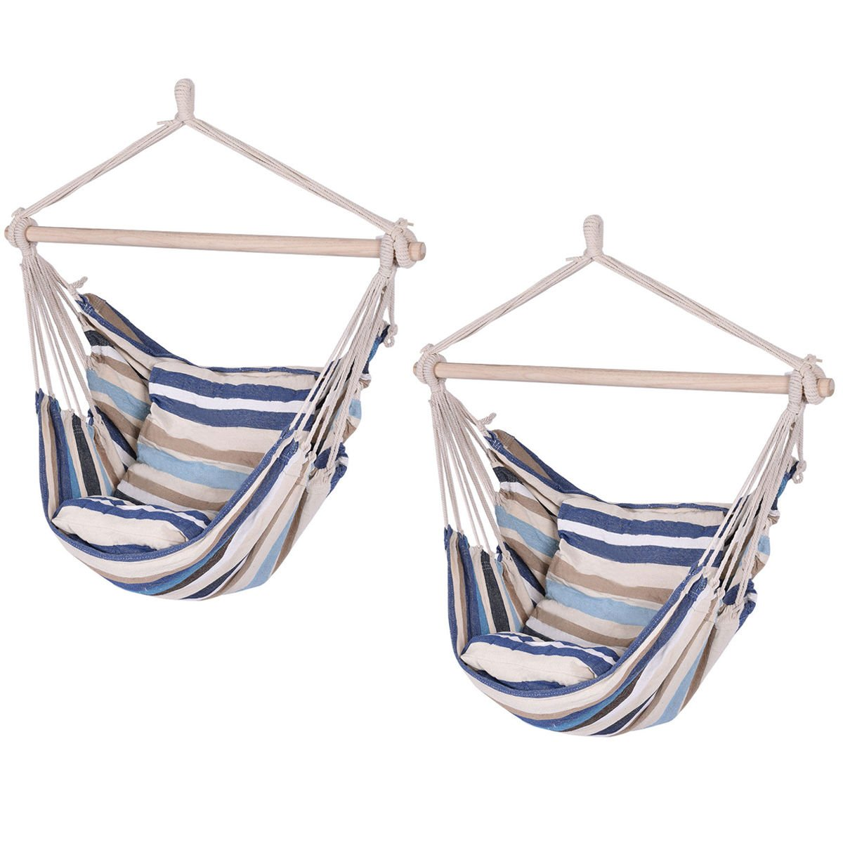 Deluxe Hammock Rope Chair Porch Yard Tree Hanging Air Swing Outdoor Set of 2