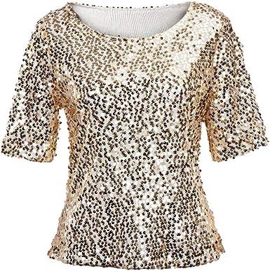 Camiseta de Mujer con Lentejuelas Moda Top Blusa Cuello Redondo Fiesta Camisas Elegante Mujer Tallas Grandes Blusa Gusspower: Amazon.es: Ropa y accesorios