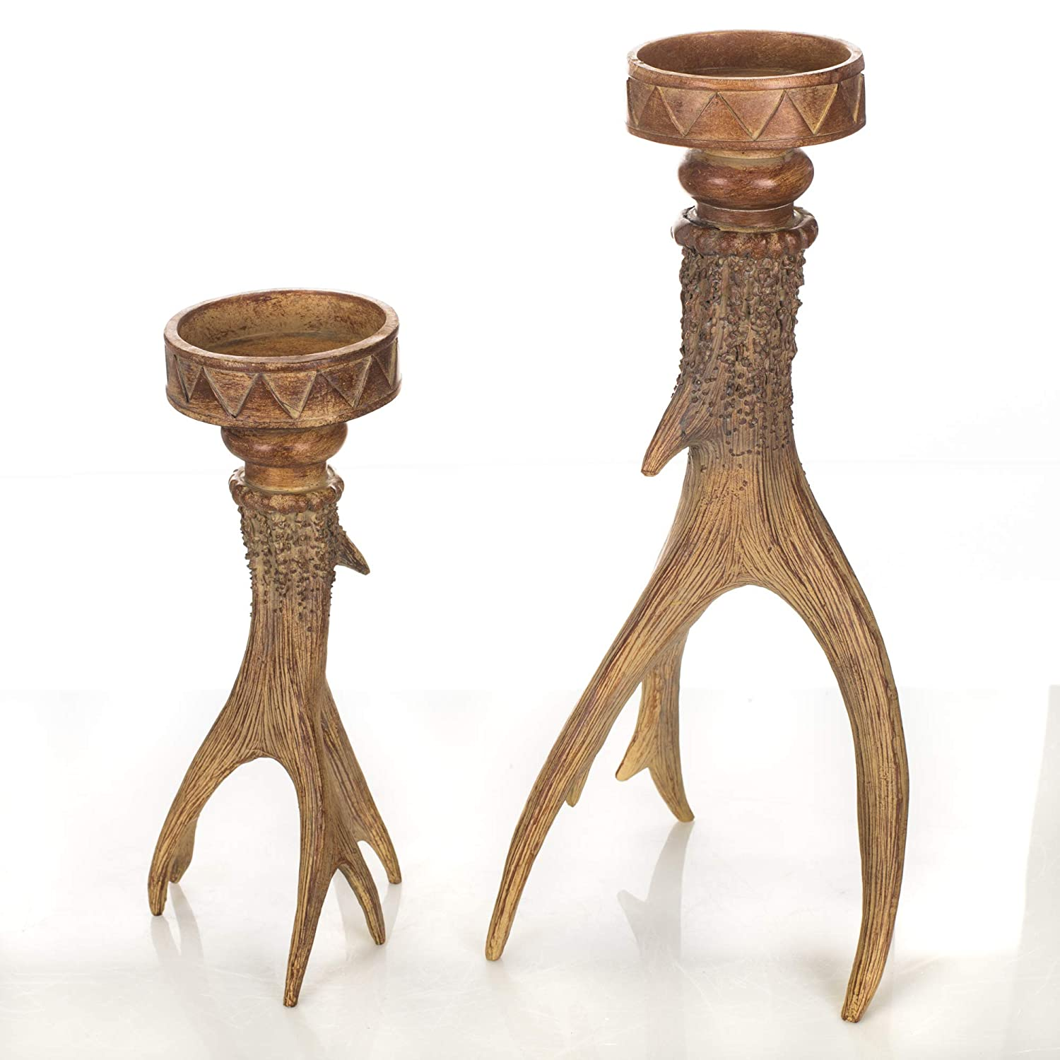 Drew Derose Antler Natural Brown 16 And 11 Inch Resin Stone Candle Stick Holders Set of 2