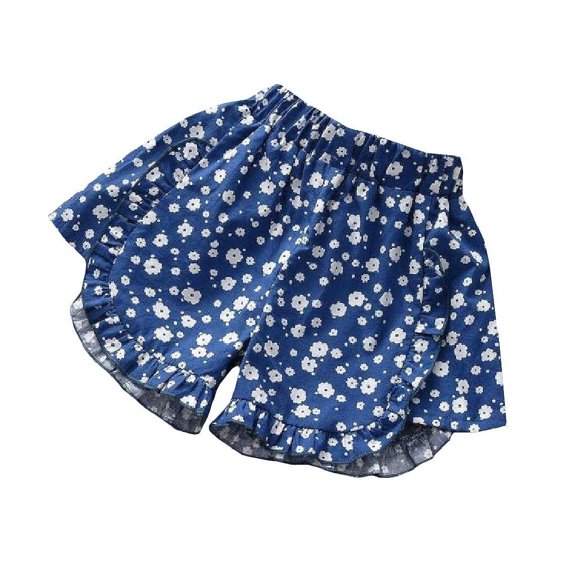 pipigo Girl Summer Trim Loose Pure Color Elastic Waist Cute Short