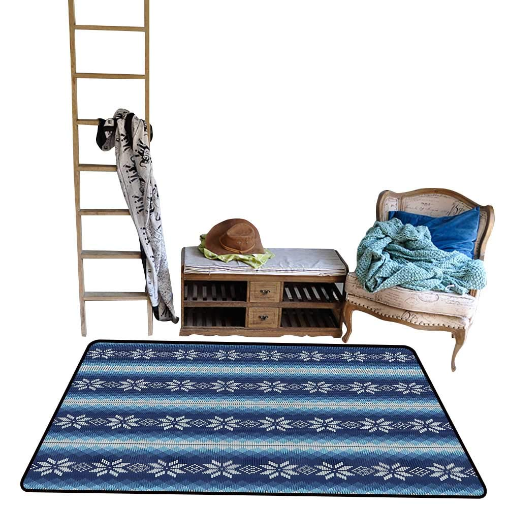 Indoor Floor mat,Traditional Scandinavian Needlework Inspired Pattern Jacquard Flakes Knitting Theme 39''x63'',Can be Used for Floor Decoration