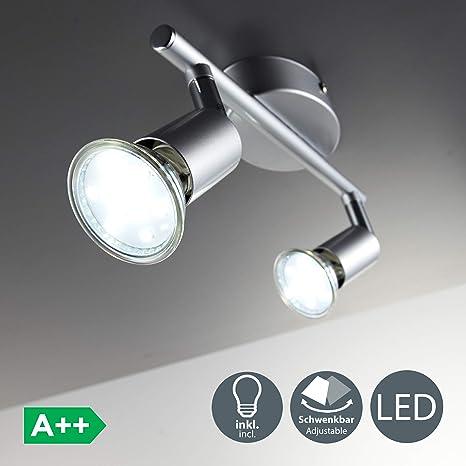 BKLicht Lámpara de techo con focos giratoria incl. 2 x 3 W bombillas LED GU10 Aplique de salón