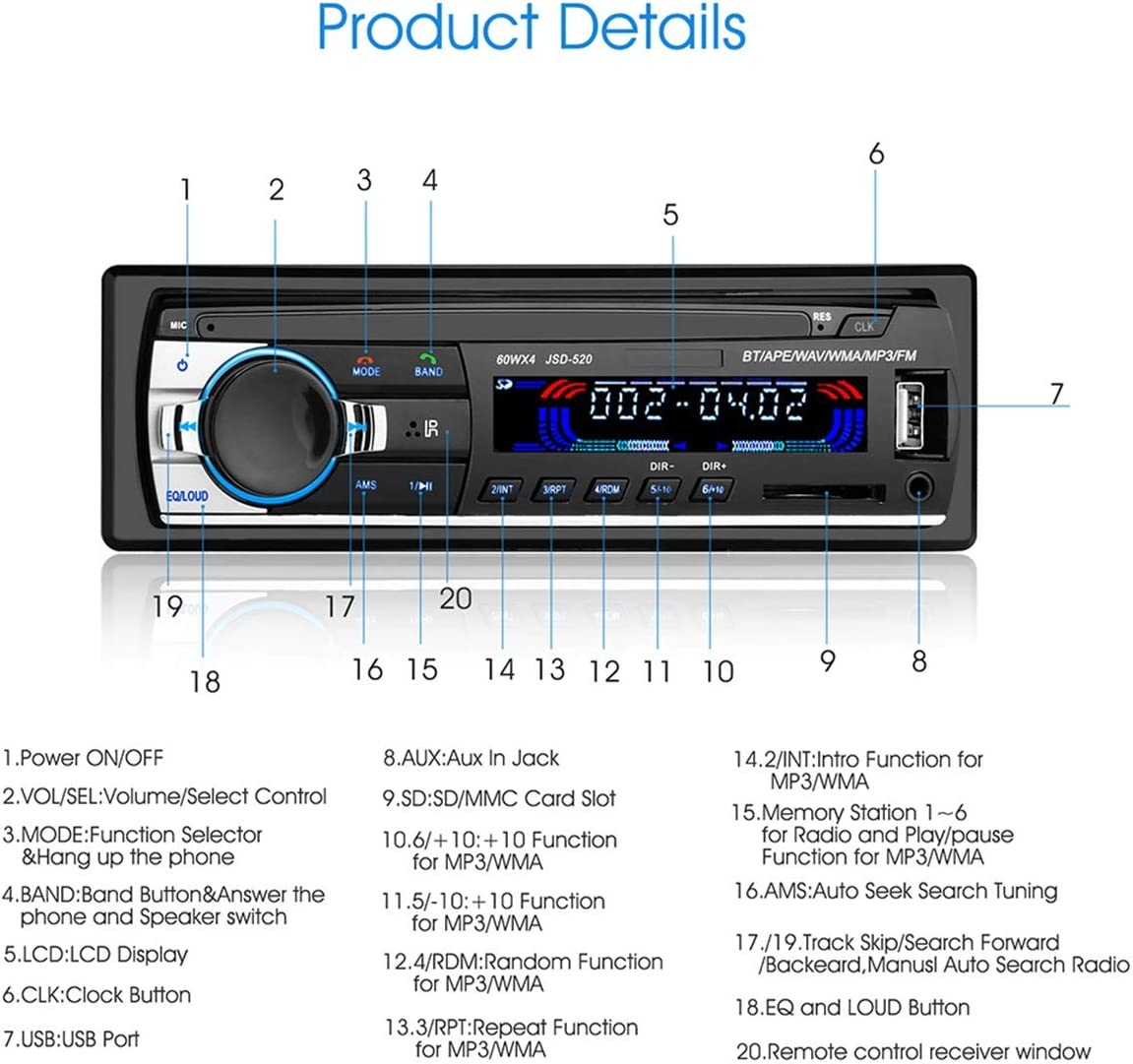 Autoradio Autoradio Host Jsd 520 12 V Bluetooth Auto Stereo In Dash Fm Aux Eingang Empfänger Autoradio Player Auto
