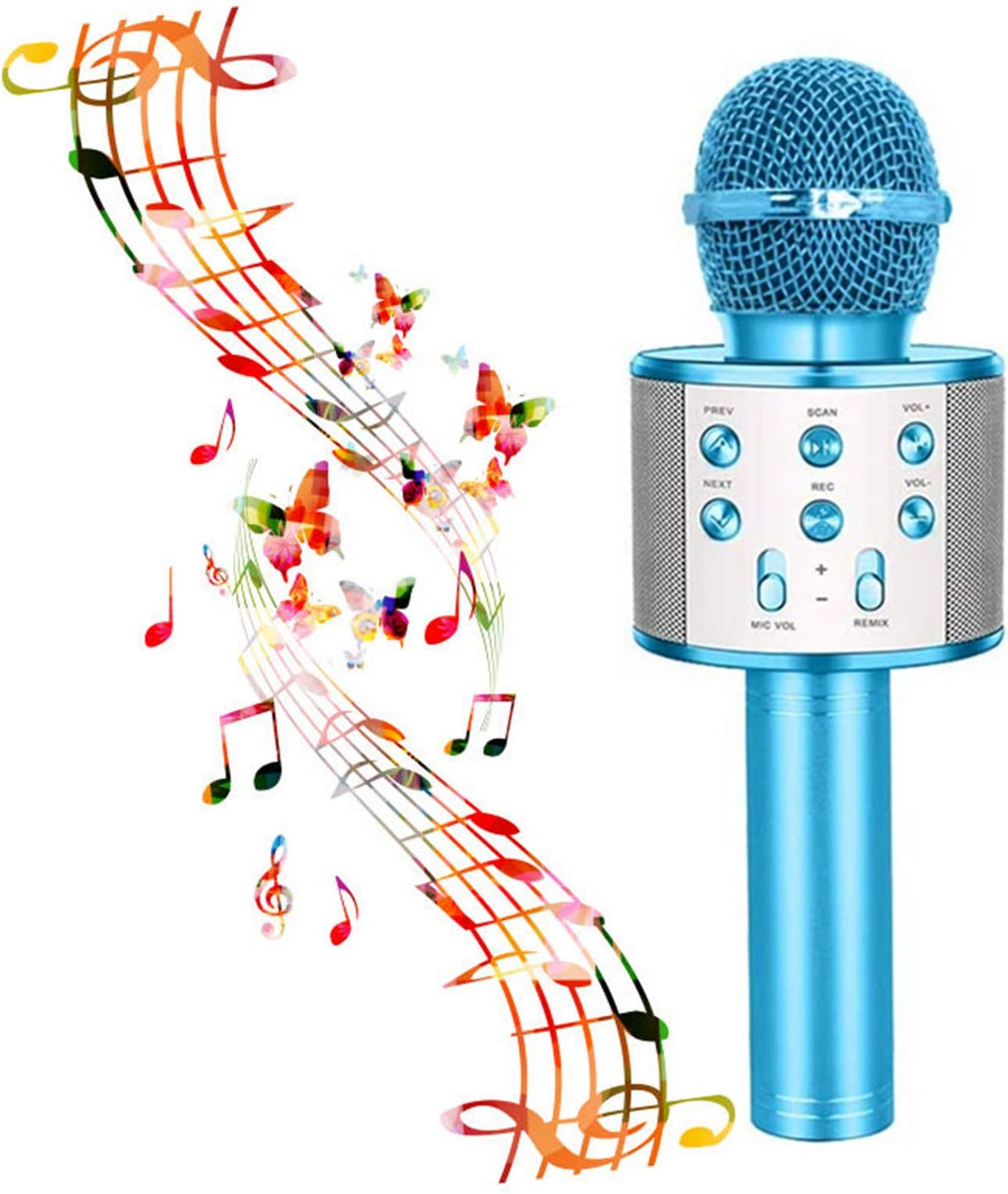 Wireless Karaoke Microphone,Bluetooth Karaoke Microphone Handheld Portable Karaoke Player, Home KTV Player with Record Function,Compatible with Android & iOS Devices for Home KTV Party Kids