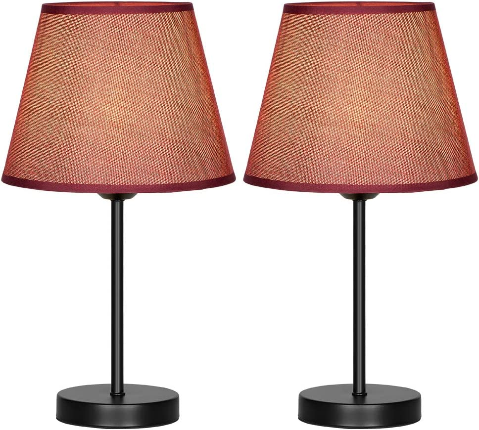 HAITRAL Nightstand Table Lamps Set of 2 - Modern Bedside Desk Lamps with Dark Red Fabric Shade Desk Lamp for Bedrooms, Office, Dorm, Girls Room - 15.4 Inches (HT-TH69-34X2)