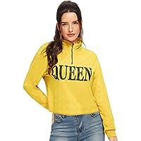 Fabricorn Plain Yellow Queen Printed Sweatshirt for Women (Yellow)