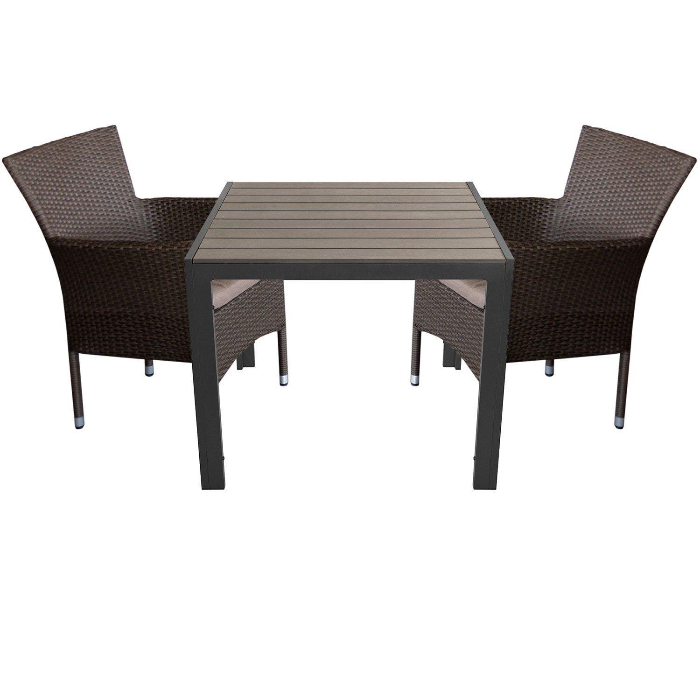 3tlg. Sitzgarnitur 2x Rattansessel, stapelbar, Polyrattanbespannung, braun-meliert inkl. Sitzkissen + Aluminium Gartentisch 90x90cm mit Polywood Tischplatte