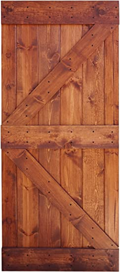 Amazon Com Wellhome 36 In X 84 In K Series Diy Finished Knotty Pine Wood Barn Door Red Walnut Home Improvement