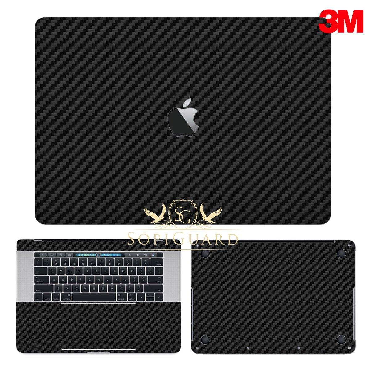SopiGuard 3M Black Carbon Fiber Full Body Precision Edge-to-Edge Coverage Vinyl Sticker Skin for Apple Macbook Pro 15 Touch Bar (A1707 A1990)