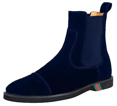 26e6eea30a0 SANTIMON Mens Chelsea Boots Dress Leather Suede Comfortable Classic Simple  Slip on