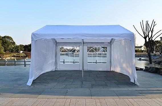 Outsunny Gazebo-Cortina de exterior para toldo fiestas matrimonio Estructura resistente de acero blanco, outdoor 8 x 4 m, 6 x 4 m 4 x 4 m: Amazon.es: Jardín