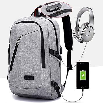 Mochila Antirrobo Impermeable, Mochila para Portátil (15.6 Pulgadas MAX), Multiusos Mochilas Escolares con Puerto de Carga USB y Toma de Auriculares Gris: ...
