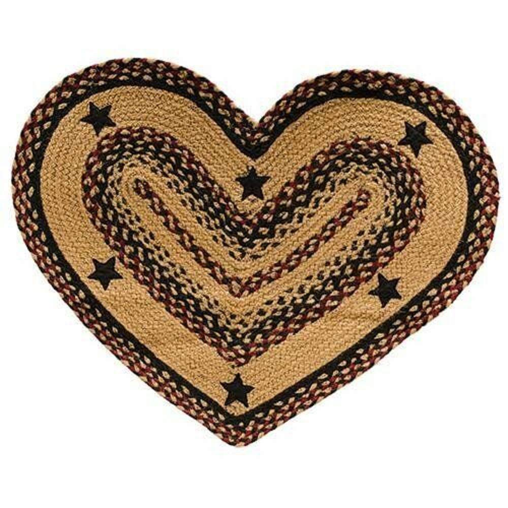 CWI Gifts BlackBerry Star Braided Heart Shape Rug, Multicolored