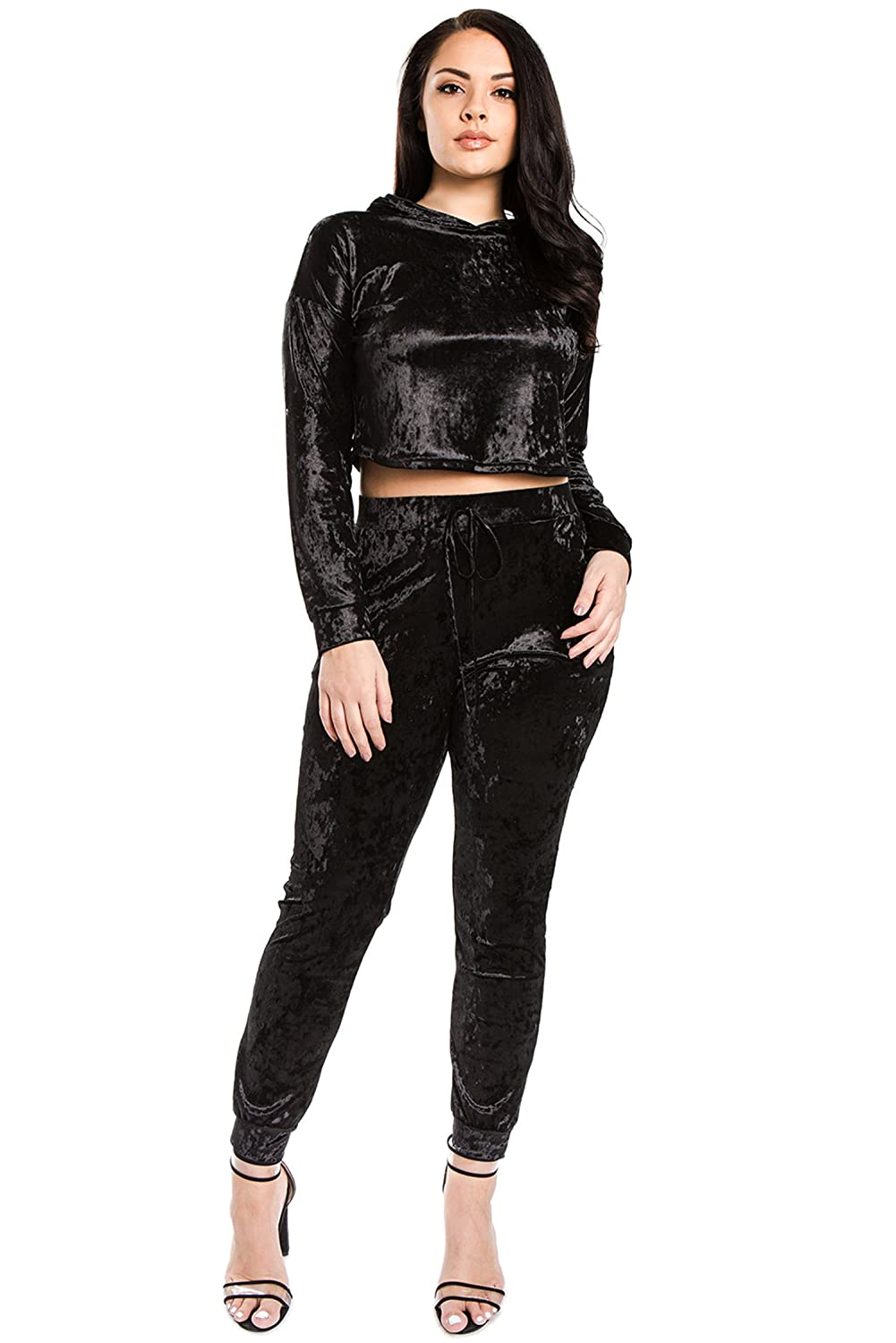 f3756918124 Soft and shimmery crushed velvet two-piece fashion tracksuit with premium  and luxurious feel. Long sleeve cropped hoodie top and jogger pants with  high ...
